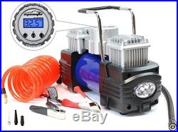 12V Duo Power Portable Air Compressor Pump with Battery Clamps ATV Truck SUV Car