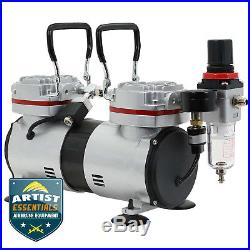 1/3 HP Twin Piston Airbrush Compressor Professional Tankless Oil-less Air Pump