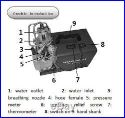 300Bar High Pressure Air Compressor Inflator PCP Rifle Airgun Scuba Air Pump