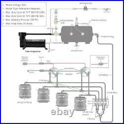 480C Single Compressor Pump Ride 200 psi Air Ride Suspension Train Horns 1/4 NPT