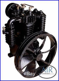 5 HP or 7.5 HP Industrial Air Compressor Pump, two stage, 175 PSI with Flywheel