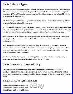 Elimia Air Compressor Pump Motor Starter 208 -230V Coil 48-65 Amp Nema 4X 20 HP