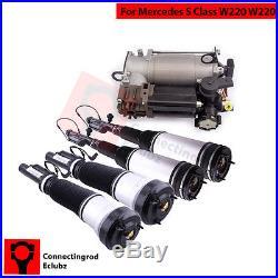 Front Rear Air Suspension Struts + Air Pump Compressor for Mercedes S-Class W220