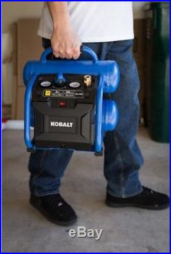 Kobalt Air Compressor Electric Twin Stack Portable 125 PSI Oil-free Pump 2 Gal