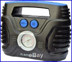Tyre Inflator Dual Electric Power 12V DC 220V 240V AC Air Compressor Pump New